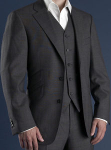 Subtle blue on grey Prince Of Wales Check suit