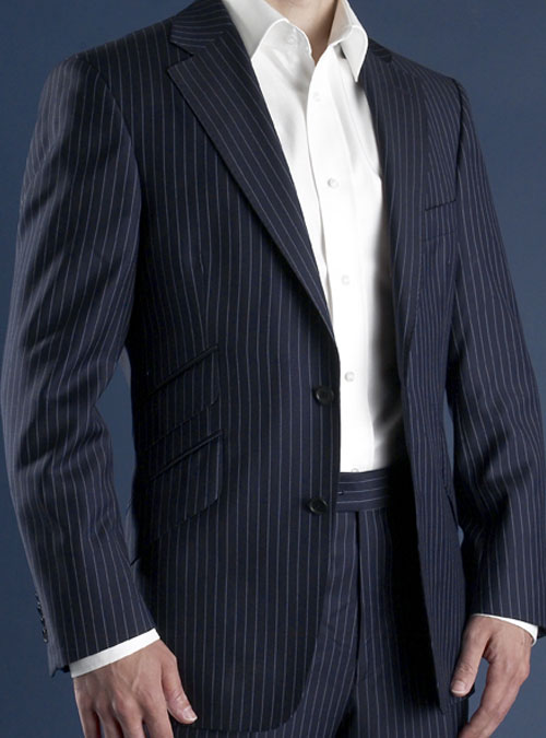 electric blue on dark blue pinstripe suit