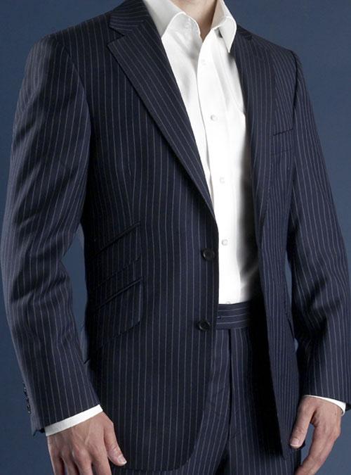 electric blue on dark blue pinstripe suit