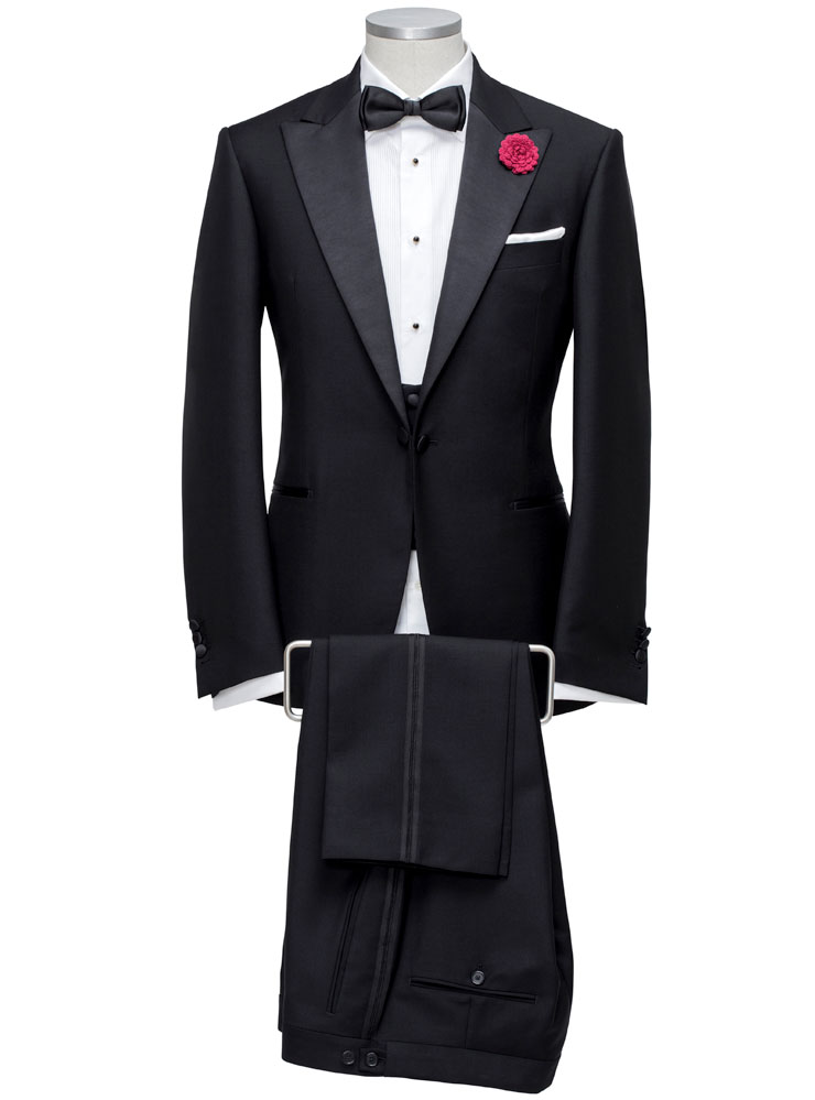 tailored black tie suit